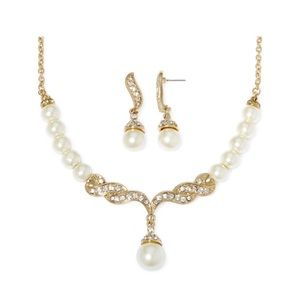 New Monet Pearl and Crystal Earrings and Necklace